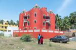 Portrait of Kanagavelu and his wife Sarala. The self-built fortress of Kanagavelu; Kottai House. Free Architecture. Kottakuppam, Pondicherry, India